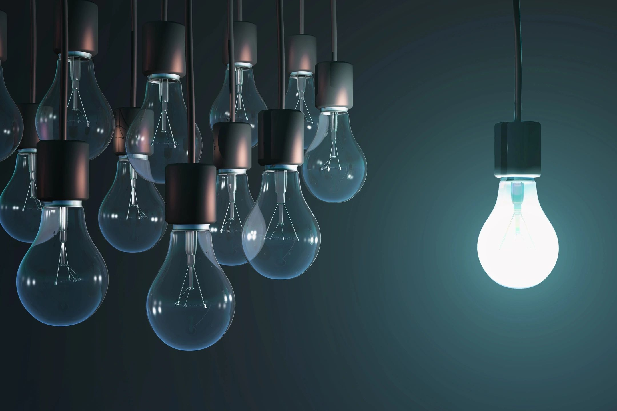 Graphic of a single illuminated lightbulb