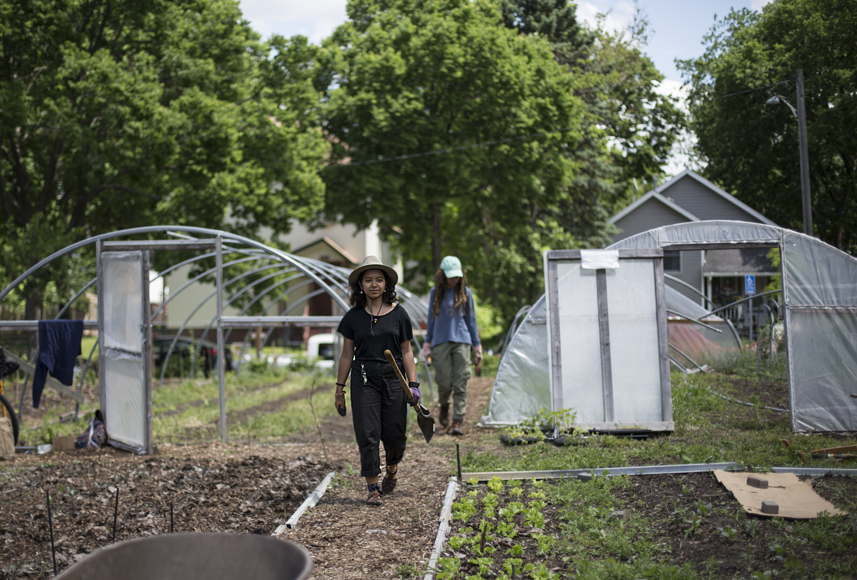 Community member in urban garden