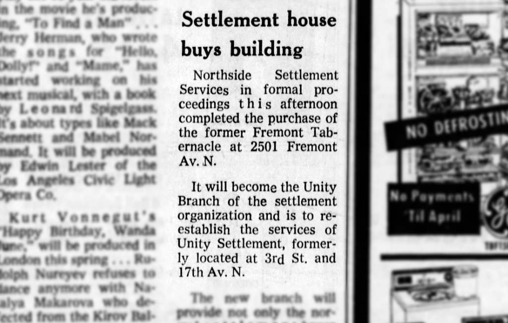 Headline: Settlement house buys building
