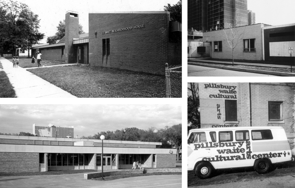 Pillsbury-Waite facilities in the early '70s: Waite House, Currie Center, Cultural Arts Center, Matthews Center