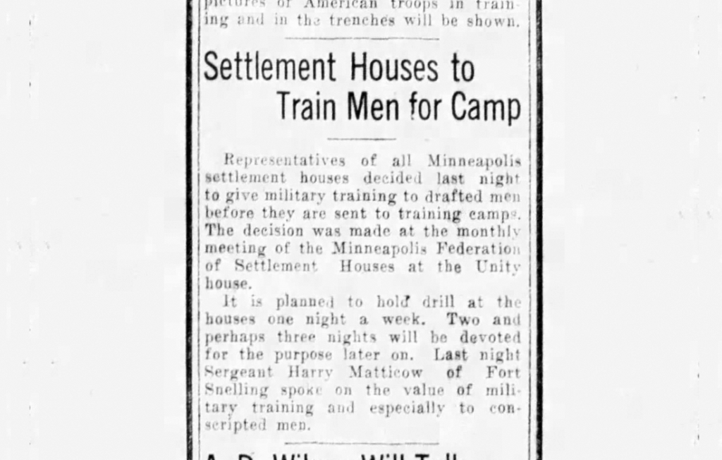 Newspaper article: Settlement Houses to Train Men for Camp