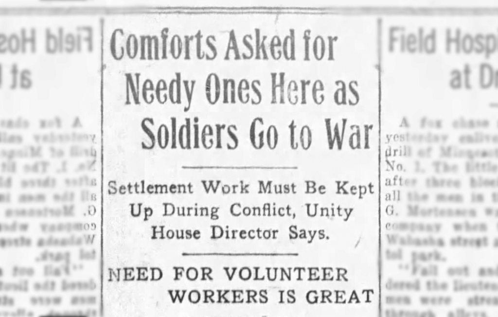 Newspaper article: Comforts Asked for Needy Ones Here as Soldiers Go to War