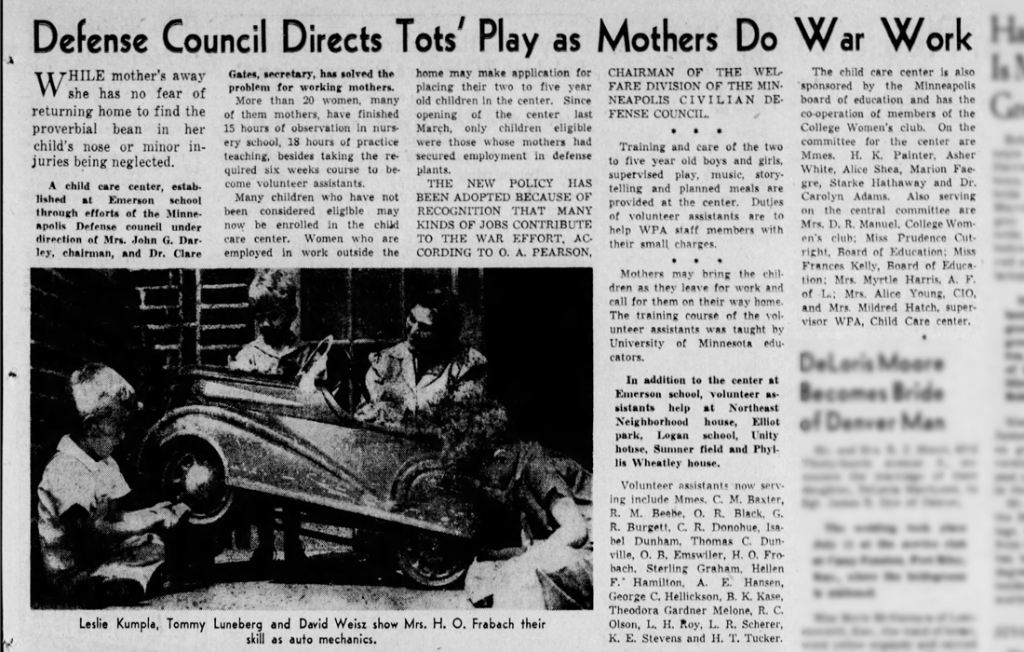 Headline: Defense Council Directs Tots' Play as Mothers Do War Work