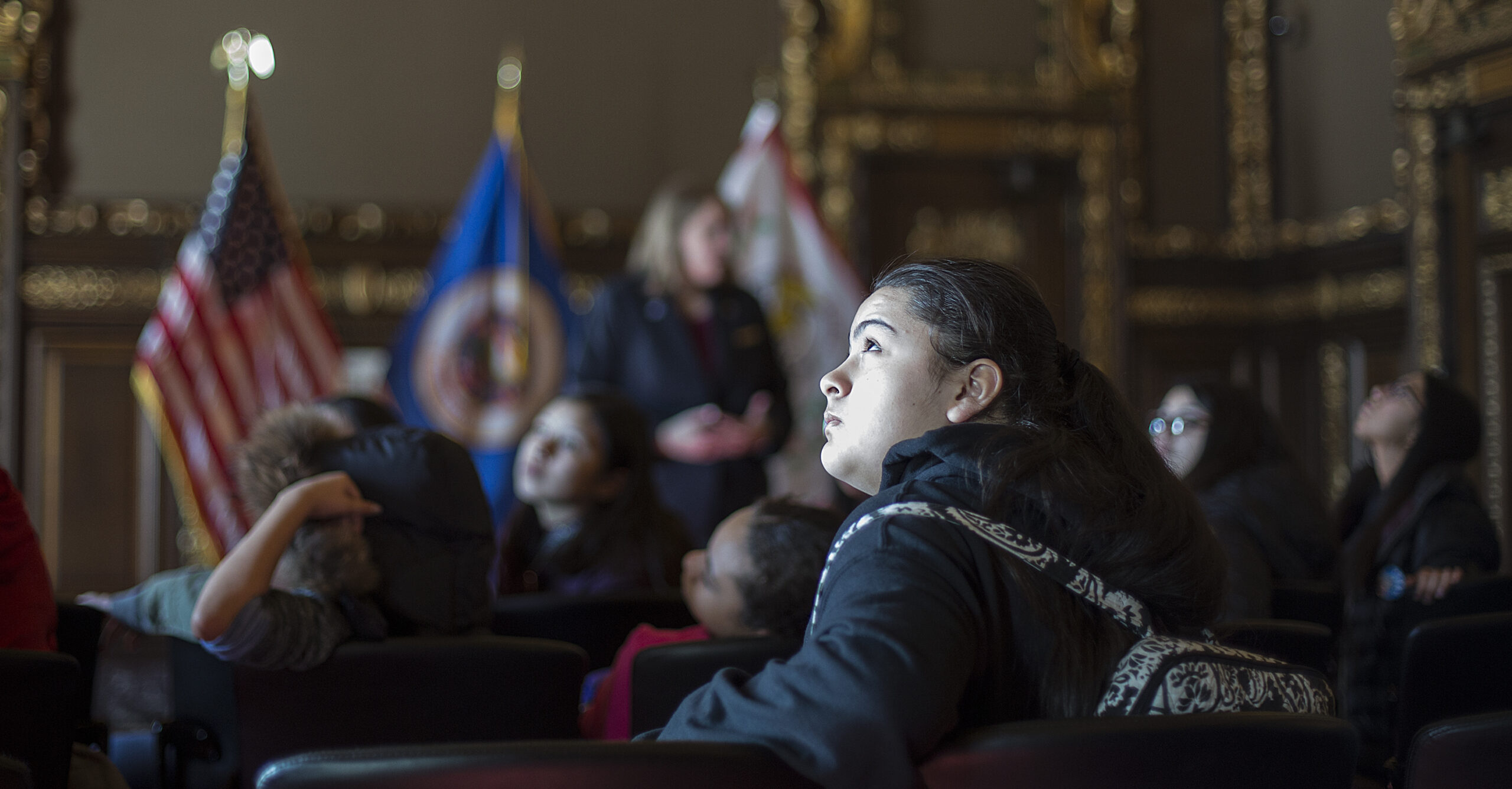 Young woman visiting MN state capitol