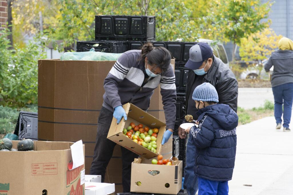 Food shelf worker distributing produce to community members