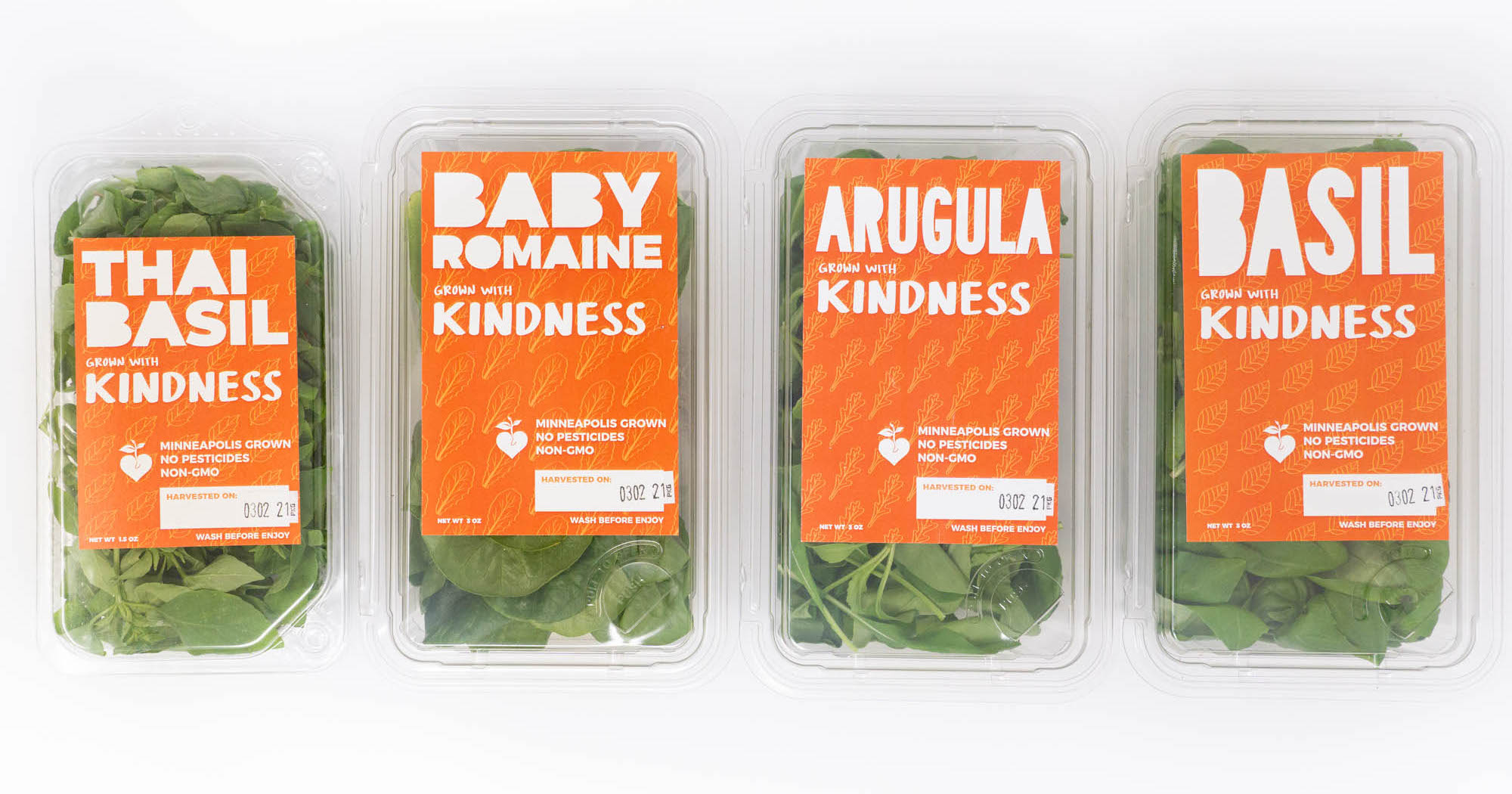 Kindness product in packaging: Thai basil, baby romaine, arugula, basil