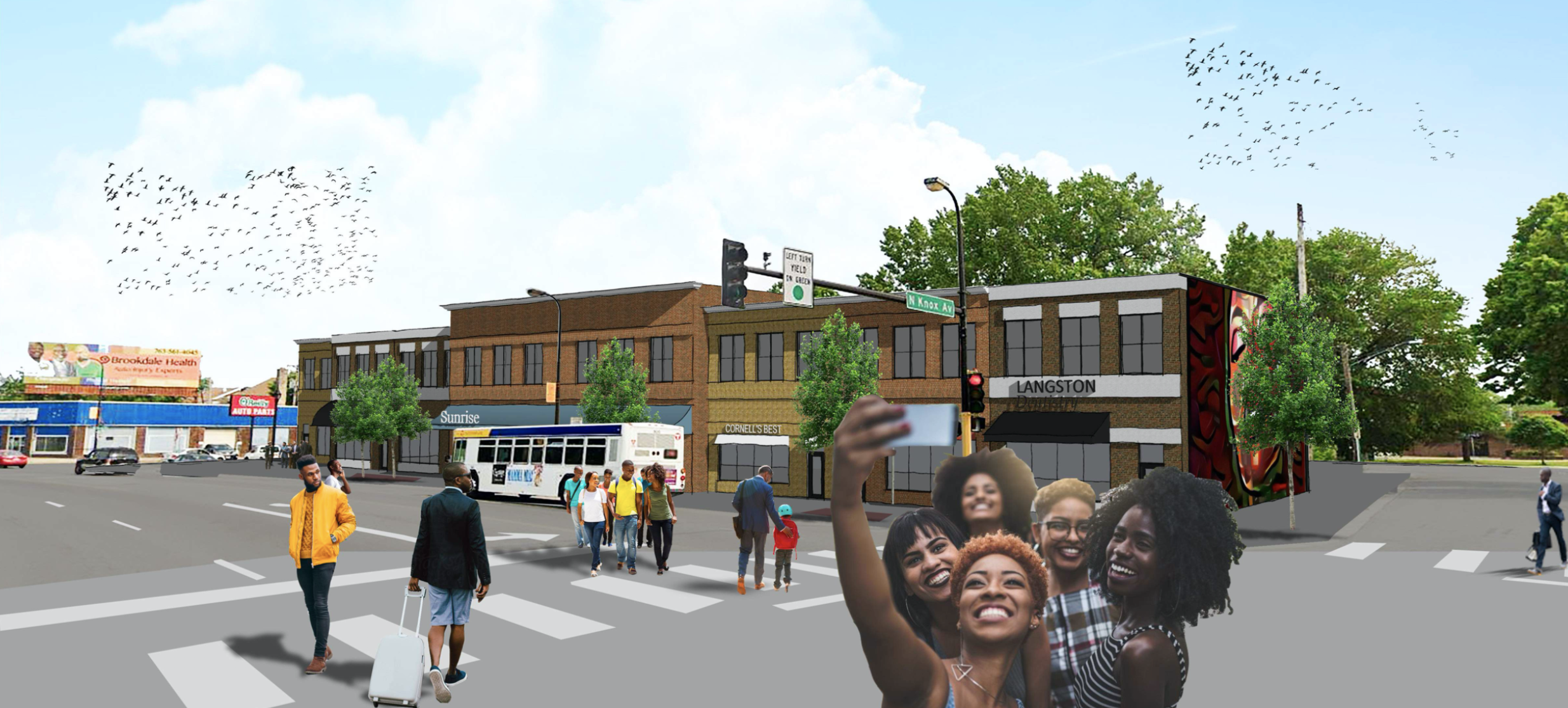 Rendering of street life on a revitalized W Broadway Ave