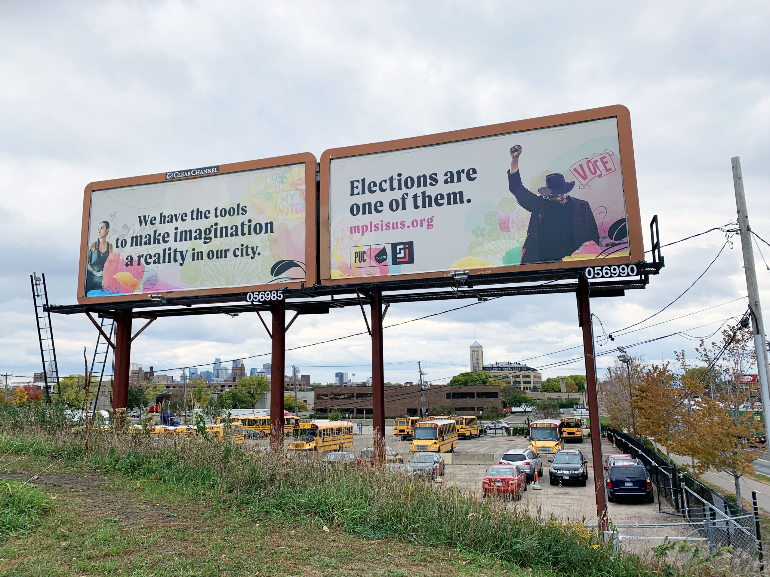 Billboard for voter outreach campaign with Pollen and Sahan Journal
